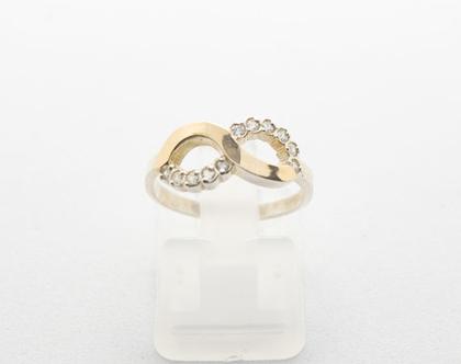 """טבעת כסף בשילוב זהב """"אינפינטי """""""