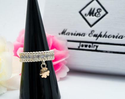 טבעת כסף בשילוב זהב תלתן