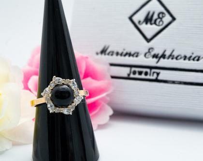 טבעת כסף בשילוב זהב הפרח שחור