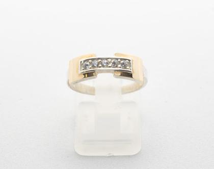 """טבעת כסף בשילוב זהב """"מלבן"""""""
