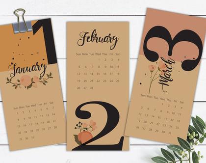לוח שנה 2020, לוח אישי מעוצב, דגם פרחים ומספרים
