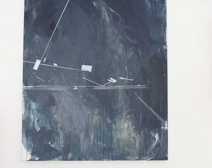ציור מקורי, אומנות מודרנית, אקריליק על קנווס, מופשט גיאומטרי, כחול כהה ואפור.