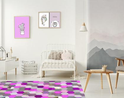 שטיח לחדר של ילדה | שטיח פי.וי.סי לחדר ילדות| שטיח צבעוני לחדר של בת | שטיח ורוד