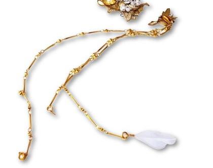 סיכת שיער נופלת - פרחים זהב