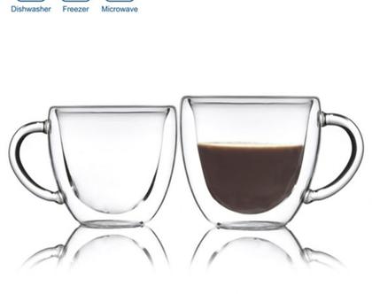 זוג כוסות זכוכית כפולה אספרסו 80ml