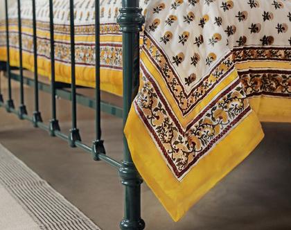 שמיכת מעבר זוגית   שמיכת קווילט   שמיכה פרחונית  שמיכה זוגית לבנה-צהובה