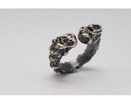טבעת מעוצבת נטיפים מכסף 925 מושחר