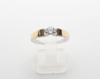 """טבעת כסף בשילוב זהב """"אירוסין 1"""""""