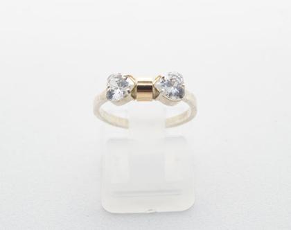 """טבעת כסף בשילוב זהב """"פפיון"""""""