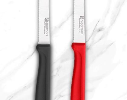 סכין מטבח משונן קצה עגול צבעים לבחירה