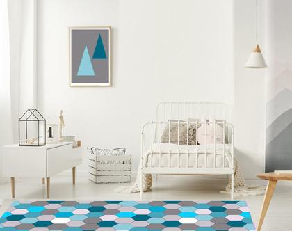 שטיח לחדר ילדים   שטיח פי.וי.סי לחדר ילדים בצבע כחול  שטיח צבעוני לחדר ילדים   עיצוב חדרי ילדים