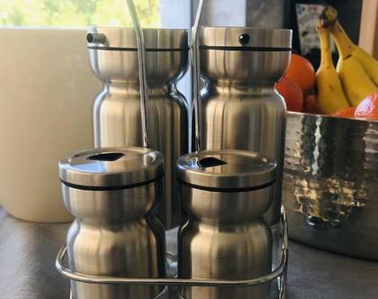 סט תיבול לסלט מלח פלפל חומץ שמן סט מהודר נירוסטה וזכוכית 5 חלקים