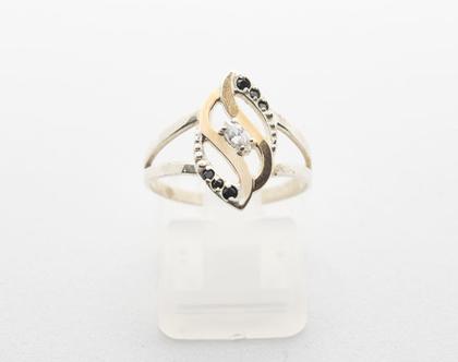 """טבעת """"להבה"""" כסף בשילוב זהב"""