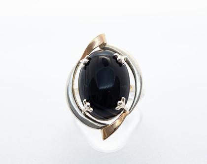 טבעת האבן השחורה כסף בשילוב זהב