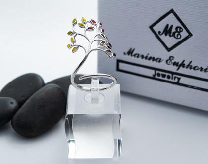 """טבעת """" עץ החיים """" כסף 925 בשילוב אמייל"""