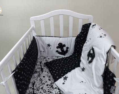 """סט מצעים למיטת תינוק דגם """"עוגן"""". ניתן לקבל גם כסט עריסה. מיוצר בישראל, מבית הני דויטש"""