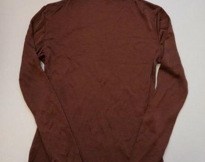 חולצת גולף חום חמרה | חולצת גולף סיקסטיז וינטג' לאישה מידה S