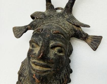מסכה אפריקאית מקורית שבטית ברוזנה עתיקה עבודת יד מסיכה אותנטית עתיקה