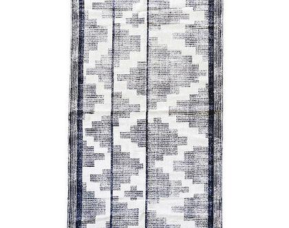 ראנר נורדי שחור לבן מזוגזג, שטיח מסדרון נורדי