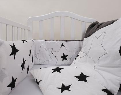 """סט מצעים למיטת תינוק דגם """"כוכב"""". ניתן לקבל גם כסט עריסה, מבית הני דויטש, מיוצר בישראל"""