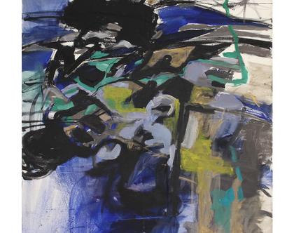 ציור מקורי, אומנות מודרנית, אקריליק על קנווס, מופשט, כחול כהה ואפור.