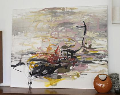 ציור מקורי, אומנות מודרנית, אקריליק על קנווס, מופשט, אפור, ורוד.