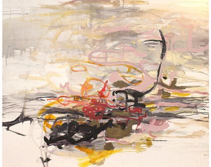 ציור אורגינלי על קנבס, אמנות מודרנית לבית, אומנות ישראלית מקורית, ציור מופשט לסלון , אפור, ורוד.