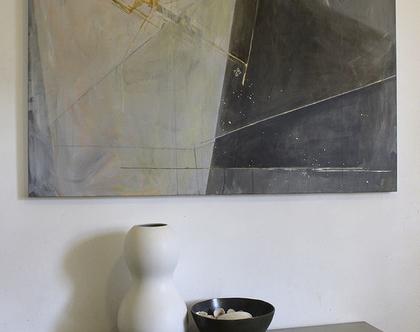 ציור מקורי, אומנות מודרנית, אקריליק על קנווס, מופשט גיאומטרי, אפור, זהב.
