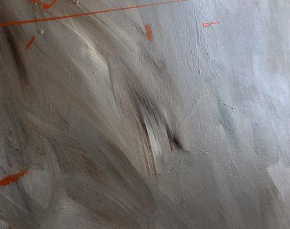 ציור מקורי, אומנות מודרנית, אקריליק על קנווס, מופשט, אפור, כתום.