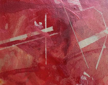 ציור מקורי, אומנות מודרנית, אקריליק על קנווס, מופשט, אדום, זהב.
