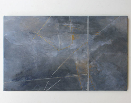 ציור מקורי, אומנות מודרנית, אקריליק על קנווס, מופשט, אפור, זהב.