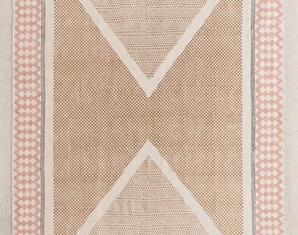 שטיח משולשים נורדי ורוד וחרדל