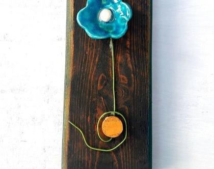 פרח   פרח קרמיקה   פרח על לוח עץ  