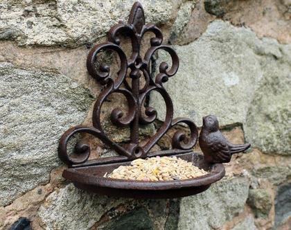 מתקן מתכת להאכלת ציפורים - לתליה על קיר