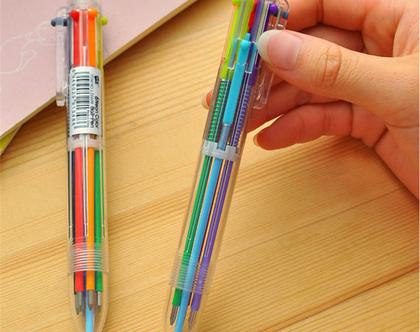 עט רב צבעוני עט 6 ב-1 | 6 צבעים בעט אחד