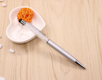 עט קריסטלים בצבע כסף עם גומיה טאץ' למסך הטלפון, אייפד....