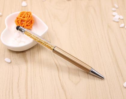 עט קריסטלים בצבע זהב עם גומיה טאץ' למסך הטלפון, אייפד....