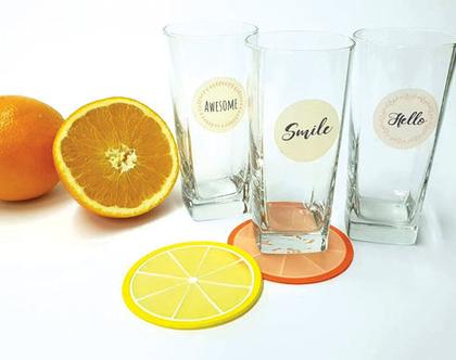 מדבקות שקופות להדבקה על כוסות| מיתוג כוסות למסיבות | 24 מדבקות צבעוניות | קוטר 4 ס״מ