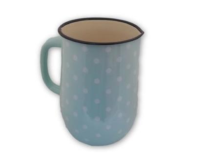 חסר - קנקן תכלת עם נקודות לבנות עדינות, עשוי אמאייל אמייל - קנקן שתייה חמה/קרה או אגרטל לפרחים