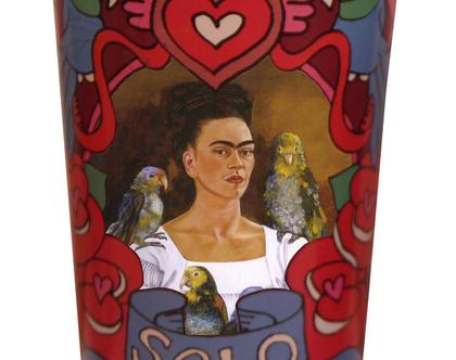כוס לנר מזכוכית פורטרט פרידה קאלו וציפורים | SOFI | KITSCH KITCHEN