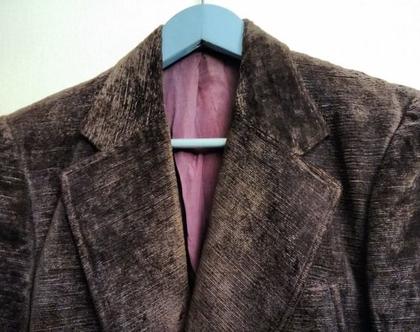 ג'קט קטיפה מעוצב אלגנטי לגבר CLAUBERTI | ג'קט קטיפה מחוייט סבנטיז צבע סגול מעושן מידה L