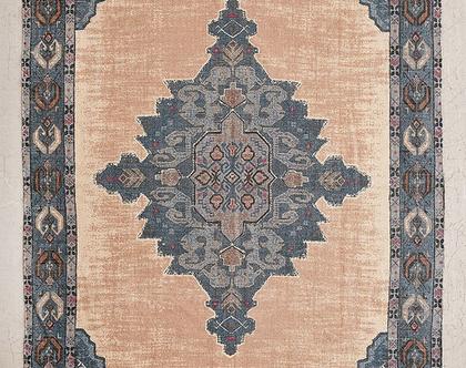 שטיח כותנה בגווני טורקיז, חרדל וורוד