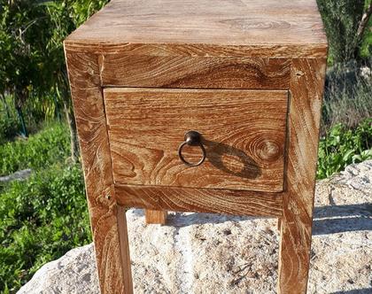 שידה צד/שידת לילה קטנה ומקסימה עם מגירה מעץ טיק
