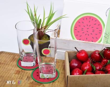 מדבקות שקופות בצורת אבטיח להדבקה על כוסות | מיתוג כוסות למסיבות | 24 מדבקות צבעוניות | קוטר 4 ס״מ