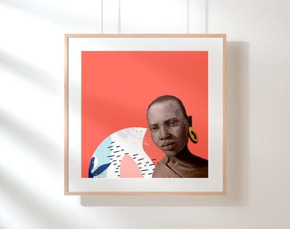 פוסטר, הדפס ציור מקורי, עיצוב הבית, תמונה צבעונית, ציור פורטרט, יופי אפריקאי