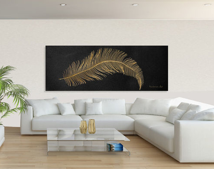 תמונת קנבס ♥ - Abstract Gold feather | תמונה בעיצוב מקורי | תמונה מיוחדת לסלון| תמונה בצבע זהב | Wall Art