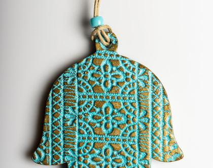 """חמסה מרוקעת - עבודת יד ישראלית , אידאלי כמתנה לחנוכת בית או לפתיחת משרד,מתנה לנסיעה לחו""""ל."""
