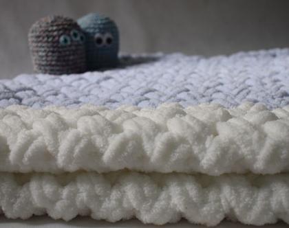 שמיכה סרוגה לתינוק, שמיכה פלאפית, הכי רכה ונעימה שיש, לעגלה/מיטת תינוק/עריסה.