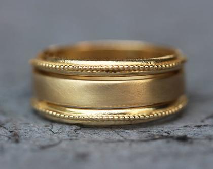 סט טבעת נישואין, טבעת נישואין זהב צהוב, טבעות נישואין לאישה, טבעת נישואין כדורים, טבעות מעוצבות, סט טבעות לכלה