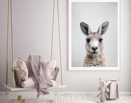 קנגרו | פוסטר מודרני | עיצוב חדר תינוקות | תמונה לחדר ילדים | אוסטרליה | תמונות חמודות | רעיונות לעיצוב | תמונות של חיות | סט פוסטרים